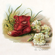 Antique Shoe with Carnations - Art Print