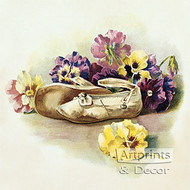 Antique Shoes with Pansies - Art Print