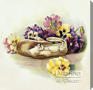 Antique Shoes with Pansies - Stretched Canvas Art Print