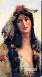 Indian Maiden - Deering Binder Twine 1909 by Raphael Beck - Stretched Canvas Art Print
