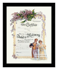 United in Matrimony - Certificate of Marriage - Framed Art Print