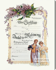 United in Matrimony - Certificate of Marriage - Stretched Canvas Art Print
