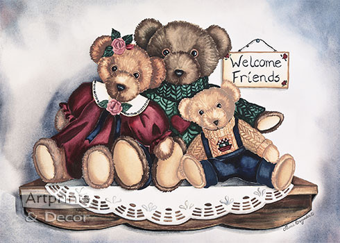 Teddy Bear Welcome by Laurie Korsgaden - Art Print