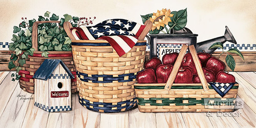Basket & Things by Laurie Korsgaden - Framed Art Print