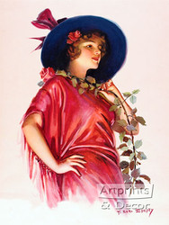 One Long Stemmed Rose by F. Earl Christy - Art Print