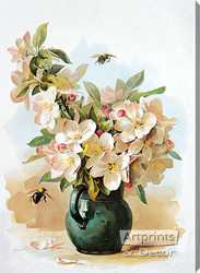 Apple Blossoms by Paul de Longpre - Stretched Canvas Art Print