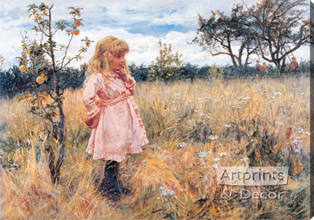 Picking Apples by Frederick Morgan - Stretched Canvas Art Print
