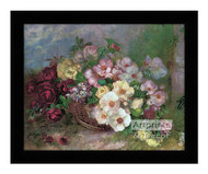 Flowers in a Basket - Framed Art Print