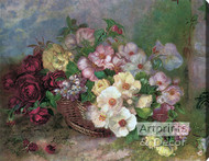 Flowers in a Basket - Stretched Canvas Art Print