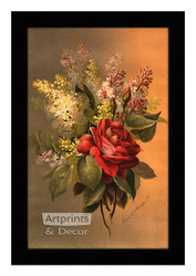 Damask Rose & Lilacs - Framed Art Print