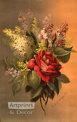 Damask Rose & Lilacs by Raoul de Longpre - Art Print