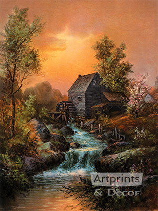 By the Old Mill Stream by William Henry Chandler - Framed Art Print