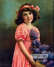Girl with Lilacs - Stretched Canvas Art Print