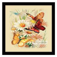 Butterflies & Daisies - Framed Art Print