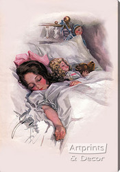 Asleep by Harrison Fisher - Stretched Canvas Art Print