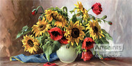 Poppies & Sunflowers - Art Print