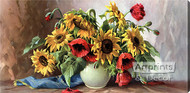 Poppies & Sunflowers - Stretched Canvas Art Print