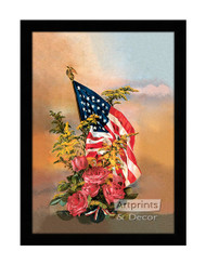 America's Flag & Flowers - Framed Art Print