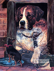 St Bernard in Dog House - Art Print