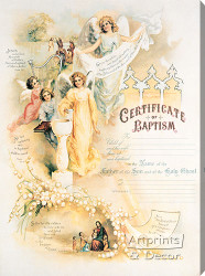 Certificate of Baptism - Stretched Canvas Art Print