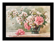 Roses & Cherry Blossoms - Framed Art Print