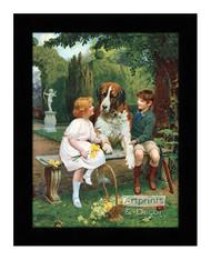 Children with St. Bernard - Framed Art Print
