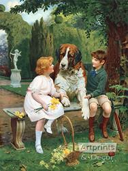 Children with St. Bernard by Arthur J. Elsley - Art Print