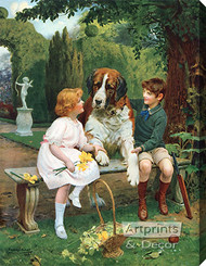 Children with St. Bernard by Arthur J. Elsley - Stretched Canvas Art Print