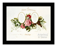 Pink Roses Marriage Certificate - Framed Art Print