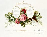 Pink Roses Marriage Certificate - Art Print
