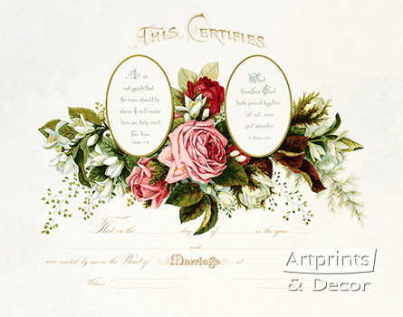 Pink Roses Marriage Certificate - Art Print