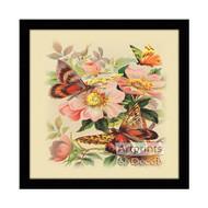 Butterflies & Wild Roses - Framed Art Print