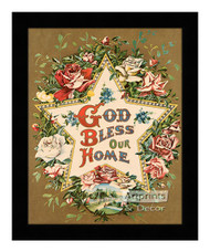 God Bless Our Home Star & Roses - Framed Art Print