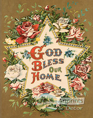 God Bless Our Home Star & Roses - Art Print
