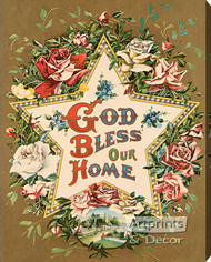God Bless Our Home Star & Roses - Stretched Canvas Art Print
