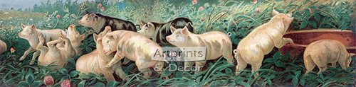 A Yard of Pigs by William De La Montagne Cary - Framed Art Print