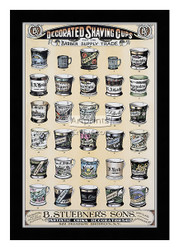 Decorated Shaving Cups for the Barber Supply Trade - Framed Art Print