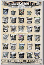 Decorated Shaving Cups for the Barber Supply Trade by B. Stuebner's Sons - Stretched Canvas Vintage Advertisement Art Print