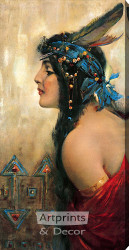 I. W. Harper Whiskey Ad with Native American Woman - Stretched Canvas Art Print