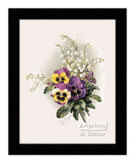 Pansies & Lillies of the Valley - Framed Art Print