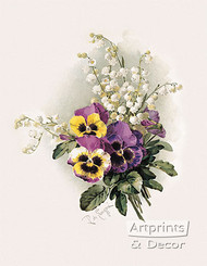 Pansies & Lillies of the Valley by Paul de Longpre - Art Print