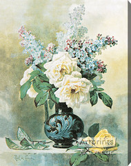 Lilacs & Roses by Paul de Longpre - Stretched Canvas Art Print