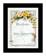 Daisies Marriage Certificate - Framed Art Print