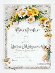 Daisies Marriage Certificate - Art Print