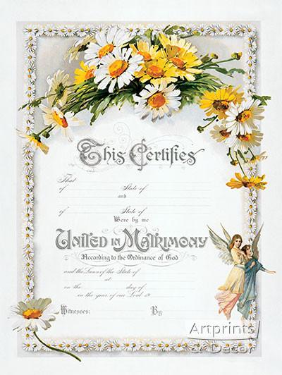 Daisies Marriage Certificate - Art Print