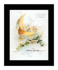 Sail Boat Marriage Certificate - Framed Art Print