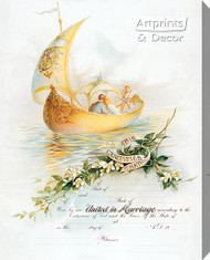 Sail Boat Marriage Certificate - Stretched Canvas Art Print