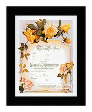 Yellow Rose Marriage Certificate - Framed Art Print