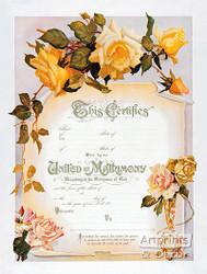 Yellow Rose Marriage Certificate - Art Print