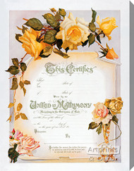 Yellow Rose Marriage Certificate - Stretched Canvas Art Print